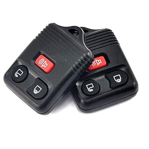 Quwei Noir 2PC Option de remplacement sans clé 3boutons d'entrée sans clé télécommande Clicker émetteur ajustement pour Ford Lincoln