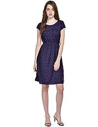 c8301bb5906 Ruhaan s Women s Crepe Navy Blue Color Star Printed Knee Length Dress  (BS 7000)