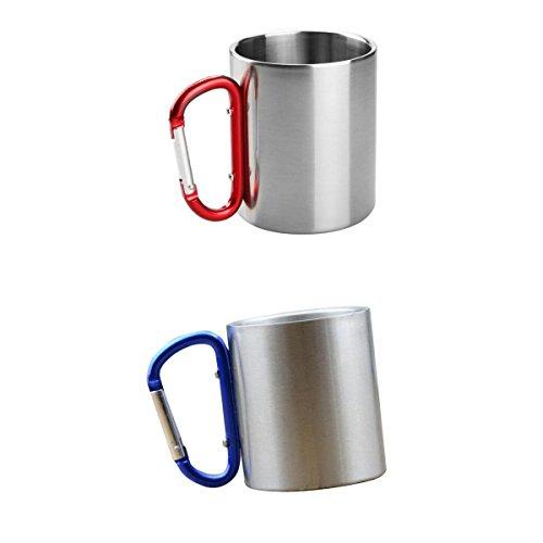 FLAMEER 2 x Aluminium Camping Kaffeebecher Kaffeetasse 180 ml mit Karabiner, 9,3 cm x 7,8 cm