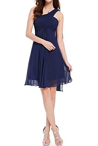 Milano Bride Ein Traeger Chiffon Abendkleider Cocktailkleider Brautjungfernkleider A-Linie Kurz Dunkelblau