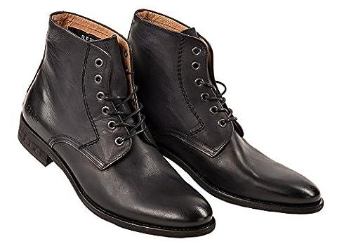 Replay Herren Leder Schuhe, Men Craig Stiefeletten Stiefel Größe 41-46 - Schwarz: Größe: 43 (9