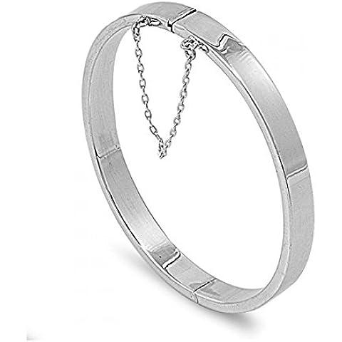 925 Sterling Silver 7x55x60 MM ovale rettangolo tubo BRACCIALI