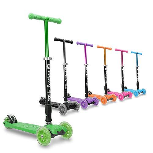 3Style Scooters® RGS-2 Monopattino a 3 Ruote per Bambini - Perfetto per i Bambini con più di 5 Anni - Dotato di Ruote LED Luminose, Design Pieghevole, Maniglie Regolabili e Struttura Leggera - Verde