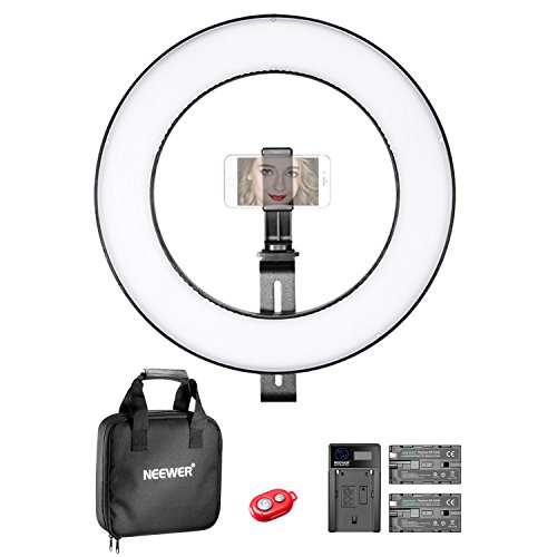 Neewer 14 Zoll äußere dimmbare Bi-Farbige LED Ring Licht Beleuchtung Set für Smartphone Video Aufnahme mit (1)Stütze, (1)Kugelkopf, (1)Smartphone-Halter, (2)Li-Ionen-Akku, (1)Ladegerät, (1)Tragetasche