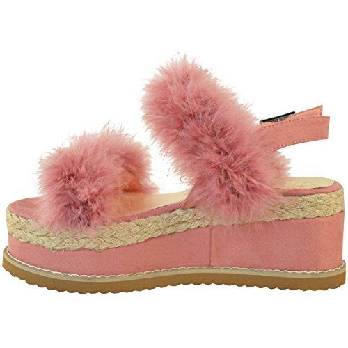 donna Espadrille forma piatta PELLICCIA FINTA ZEPPA SANDALI Estate celebrità Scarpe Numeri pastello rosa camoscio sintetico / FINTO marabù