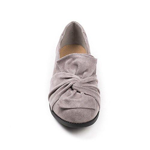 Ideal Shoes Slippers à Nœud Effet Daim Tamar Gris