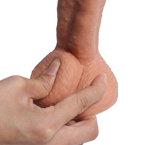 Pure Zwei-Layer-Silikon Dildo Soft Outside und Firm Inside Penis mit starken Saugnapf Real Dong Penis Nachbildung, Haut - 3
