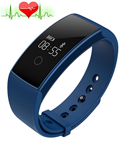 A99Smart Band Bracelet Watch Bluetooth Smartband IP67Waterproof SmartWatch Watch Pedometer Fitness Activity Tracker Heart Rate Monitor for iPhone Android Smartphones IOS, blue