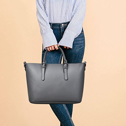 Delle Donne Borse In Pelle Di Spalla Delle Signore Sacchetto Impermeabile Tote Bags Grey