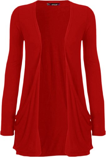 WearAll Neu Damen Langarm Freund Boyfriend style Strickjacke Cardigan Top - Rot - 40-42 (Strickjacke Plus-offene)