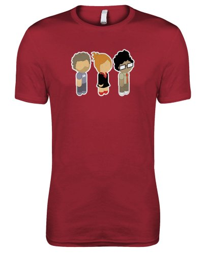 Meta Cortex T-shirts The It Crowd–Niedliche Figuren, Roy, Moss und Jen Damen T-Shirt Gr. X-Large, Rot (T-shirt Moss Rotes)