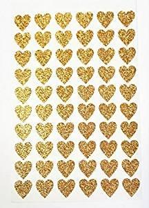 Glitterati 60 Pegatinas corazón Dorado Purpurina