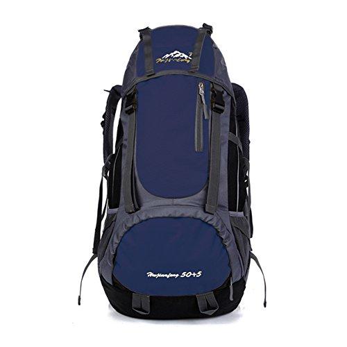 Wandern Tasche für Outdoor, Paar Reise Rucksack für Klettern Camping verstellbar atmungsaktiv und große Kapazität Rucksack 55L, 66x 34x 18cm Dunkelblau