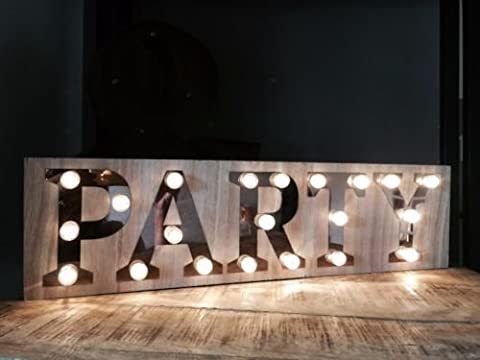 Party Wooden Light Up Sign Battery Operated Birthday Carnival Display