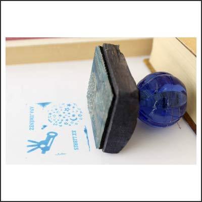 Exlibris personalizado con empuñadura cristal azul y herraje bronce envejecido. Caja personalizada de regalo. Ex libris personalizable ideal para regalo.