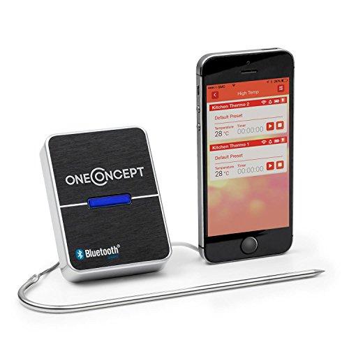 oneConcept Meatmaster • Grill-Thermometer • Bratenthermometer • Fleisch-Thermometer • 4.0 Bluetooth-Verbindung • Temperaturüberwachung per App • geeignet für Android Smartphones & -Tablets • schwarz