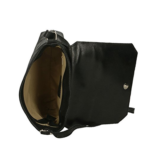 Chicca Borse Clutch Borsetta a Spalla da Donna in Vera Pelle Made in Italy - 27x24x7 Cm Nero