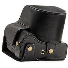"""Estuche de cuero genuino para cámara Leica MegaGear """"Ever Ready"""" - Fácil de instalar, trípode y accesorios periféricos - Compatible con Leica V-LUX (Typ 114) (Negro)"""