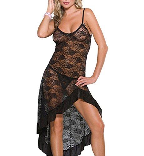 Befox Sexy Dessous für Frauen Night Wear Deep-V-Ausschnitt Kleid Transpant Lace Strap Kleid mit G-String