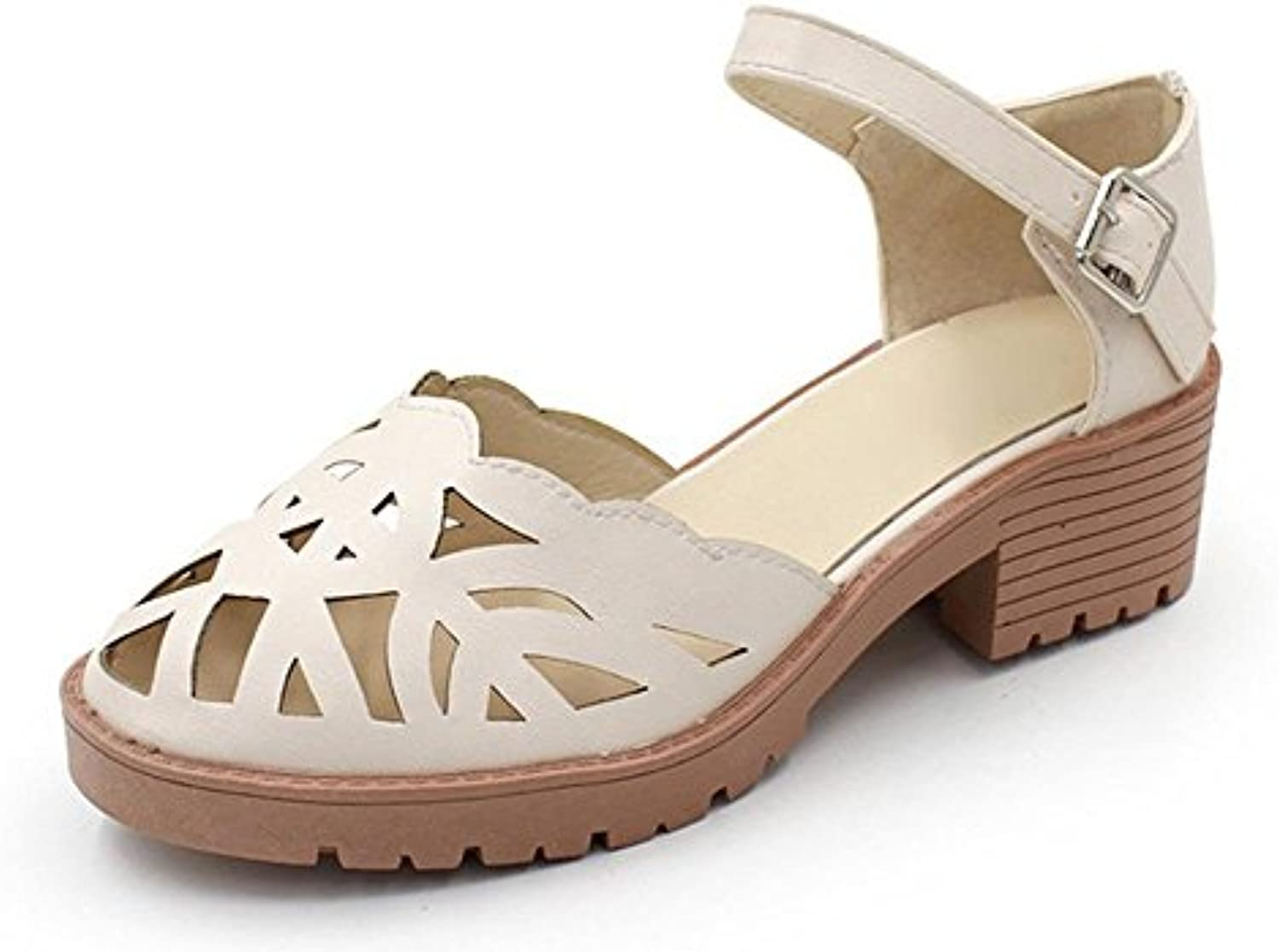 989049dfe057 Summer wild female sandals Baotou with a a a single shoe hollow round  button buckle casual shoes B072KXNYM8