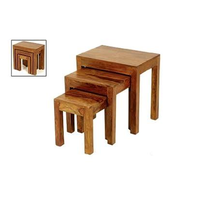 Cube Sheesham Nest of 3 Tables - Jali Thakat Nesting Tables Set of 3 - Finish : Mid Brown Sheesham - Living Room Furniture