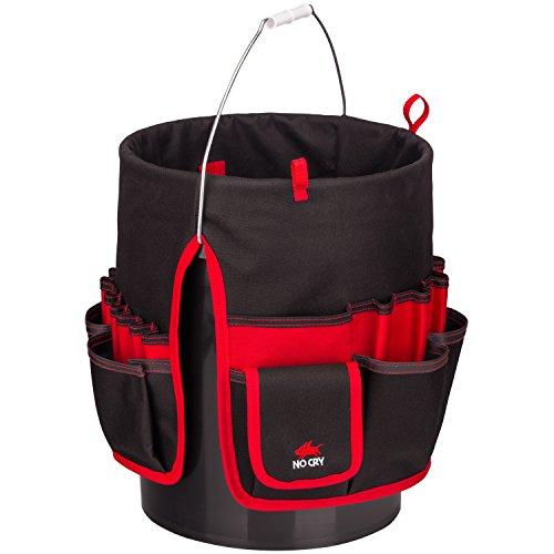 NoCry strapazierfähige Bucket Werkzeugtasche aus Canvas | Werkzeug-Organizer mit 35 Taschen, 5 Werkzeugschlaufen und Klebeband-Halter | Für 12-16 Liter Eimer geeignet