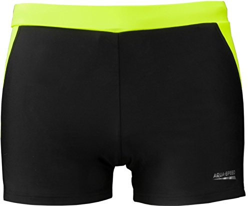 AQUA-SPEED® Herren Badehose   Schwimmhose   S-XXXL   Modern   Perfect Fit   UV-Schutz   Chlor resistent   Kordelzug 01. black / grey / fluo yellow