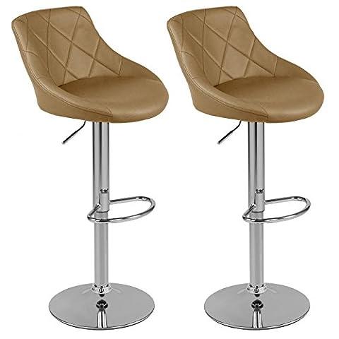 Tabourets de Bar avec Dossier Set de 2 Chaise de Bar Chaise de Comptoir Hauteur Réglage en Continu Cappucino