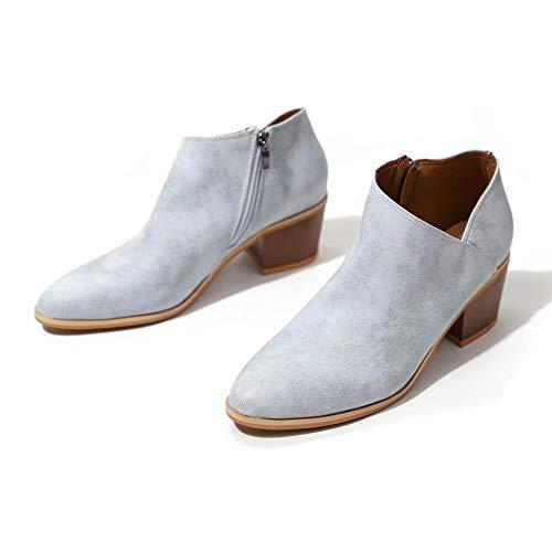 Hafiot Chelsea Boots Stiefeletten Damen Kurzschaft Leder mit Absatz Kurze Reissverschluss Bequem Stiefel Winter 5cm Schuhe Beige Rosa Blau Grau Schwarz 35-43 BL41