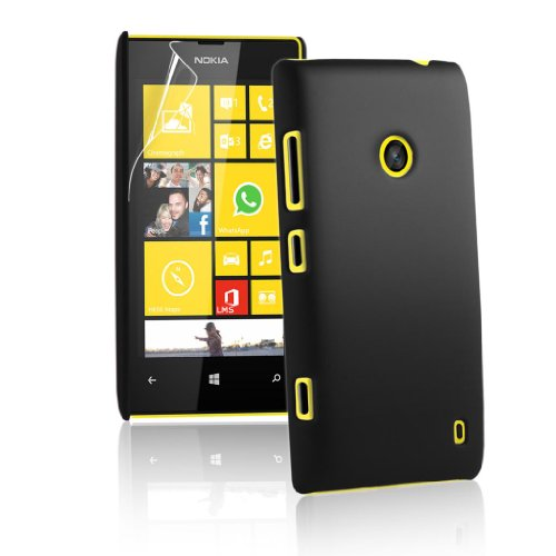Rubberised Frosted Snap On Hard Back Case Cover For Nokia Lumia 525 520 - Black