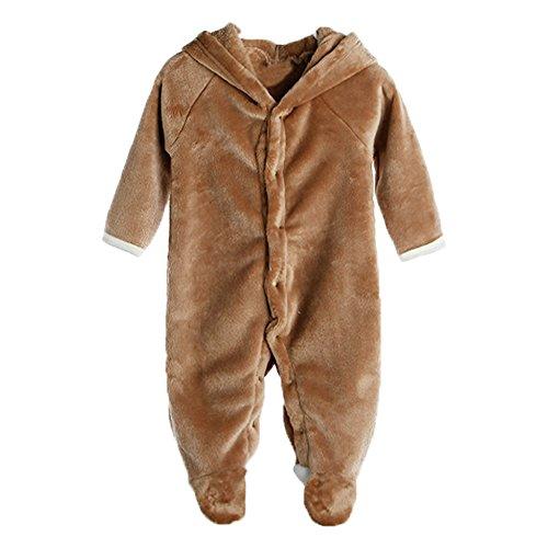Eagsouni® Baby Mädchen und Jungen Bär Stil Overall Fleece Strampler Spielanzug Footed Schneeanzug Jumpsuit Kapuzen Kleidung Herbst & Winter