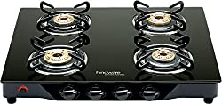 Hindware Armo GL 4B AI BLK Stainless Steel 4 Burner Cooktop, Black