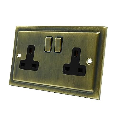 AET VAB2GSOCBB 13 A 2 Gang Victorian Antique Brass Electrical Plug Socket