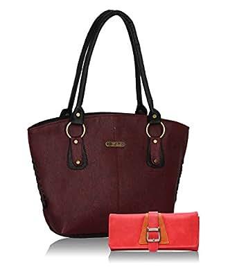 Fristo Women Handbag and Wallet Combo(FRWC-084)Maroon and Black