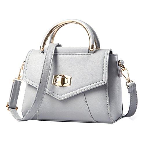 Yy.f Neue Handtaschen Süße Kleine Umhängetasche Nieten Tasche Damen-Taschen Taschen Normallack Schwarz Grau Grey