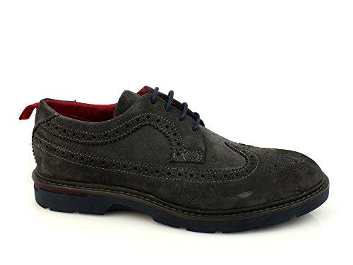 CAFE NOIR scarpe basse scamosciate lacci coda di rondine uomo PELLE ANTRACITE GRIGIO LRP621 made in Italy