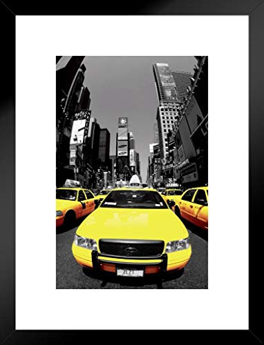 Pyramid America Yellow Cabs NYC Fotografie Kunstdruck 20x26 inches Matted Framed Poster