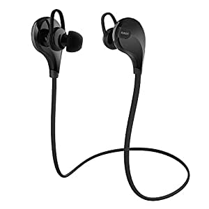 AUKEY Auricolare Bluetooth 4.1 Headset Stereo per Sport, Earphone Bluetooth Cuffie Wireless con Microfono per iPhone 6 Plus / 6 / 5s / 5c / 5, Samsung Smartphone, Tablet PC, ecc (Nero)