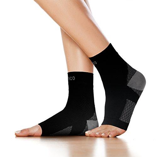 RYACO Kompressionsstrümpfe für Damen Herren Sport Medizinisch, Plantarfasciitis und Fußgelenk Bandage/Fersensporn Bandagen/Fersensporn Socken für effektive Kompression beim Laufen & Trainieren (S-M, Schwarz)