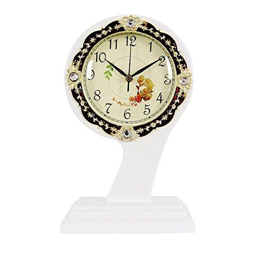 KHSKX Europäischen Stil Holz Ornamente Uhr Uhr Antike Uhr Uhr im Wohnzimmer kreative Mode-Uhren still Quarzuhr 272 white 272 Cam