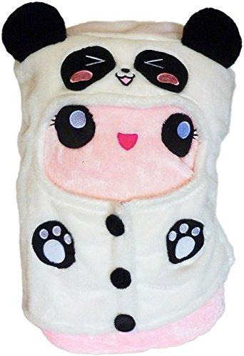 moodrush® Marshmallow Kissen (pink)   mit ausziehbarem Panda-Hoodie als Cosplay!   alle Elemente aufgestickt (Nicht Bedruckt!)   waschbar   ca. 49x27 cm