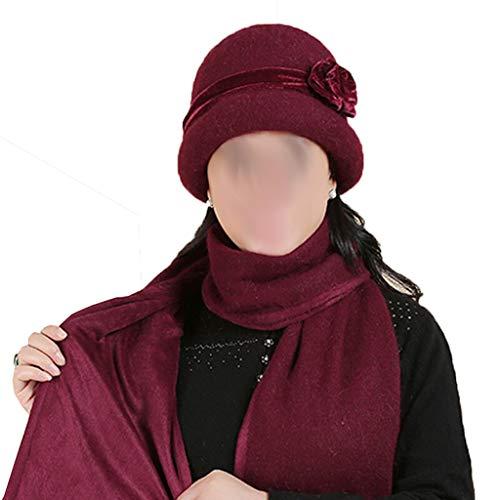 Lamp love Wärmen Sie Weiblichen Hut des Alten Hutes des Älteren Frauenmädchens des Frauenmutterhut-Schals Alten Weinrotes