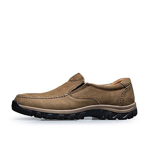 Vilocy Hommes Souliers Non-slip En Cuir Slip Sur Randonnée En Plein Air Mocassins Sneakers Kaki