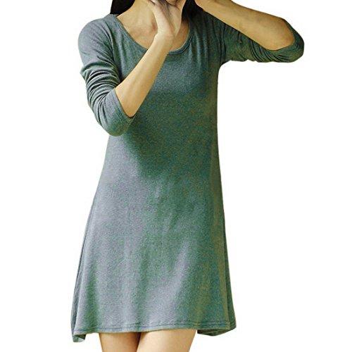 Vertvie Femme Shirt Long Robe en Coton Lâche Automne Manches Longues Haut Trapèze Casual Vert 1