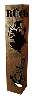 (Rostsäule) Edelrostsäule mit Rügen und Öffnung 100x20x20cm von Dekotall auf Du und dein Garten