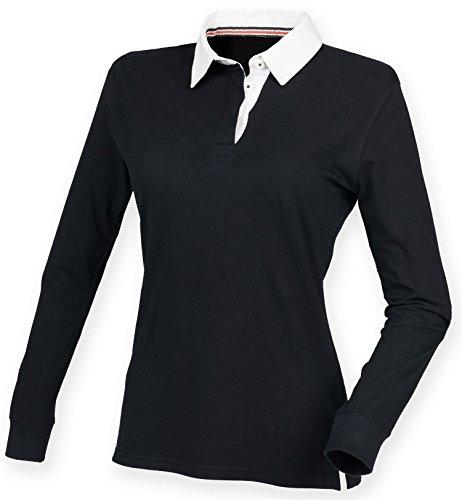 Front Row Polo de Rugby pour femme Superfit Premium noir, ros'ou bleu marine-Tailles XS à XXL Noir - Noir