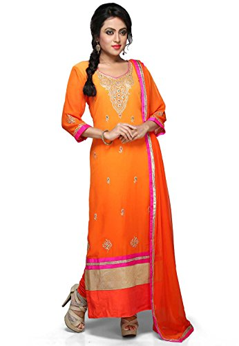 Utsav Fashion Straight Cut Embroidered Suit in Shaded Orange Colour