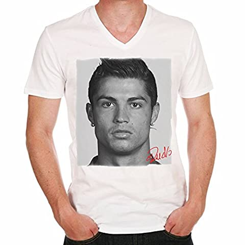 Cristiano Ronaldo football soccer T-shirt,cadeau,Homme,Blanc, S,t shirt homme
