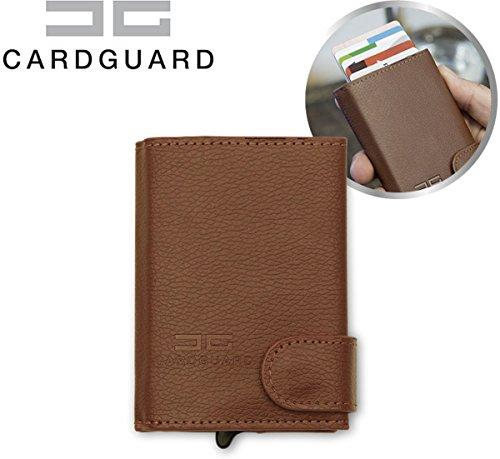Card Guard Kartenetui Leder Braun - Mini Wallet Portemonnee Vintage - Kreditkartenhülle (Mini Leder Wallet)