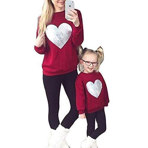 Mutter Tochter Pullover Partnerlook Mama und Baby Kleidung Set Rundhals Langarm Sweatshirt Herz Muster Familien Outfit Tops Winter/L